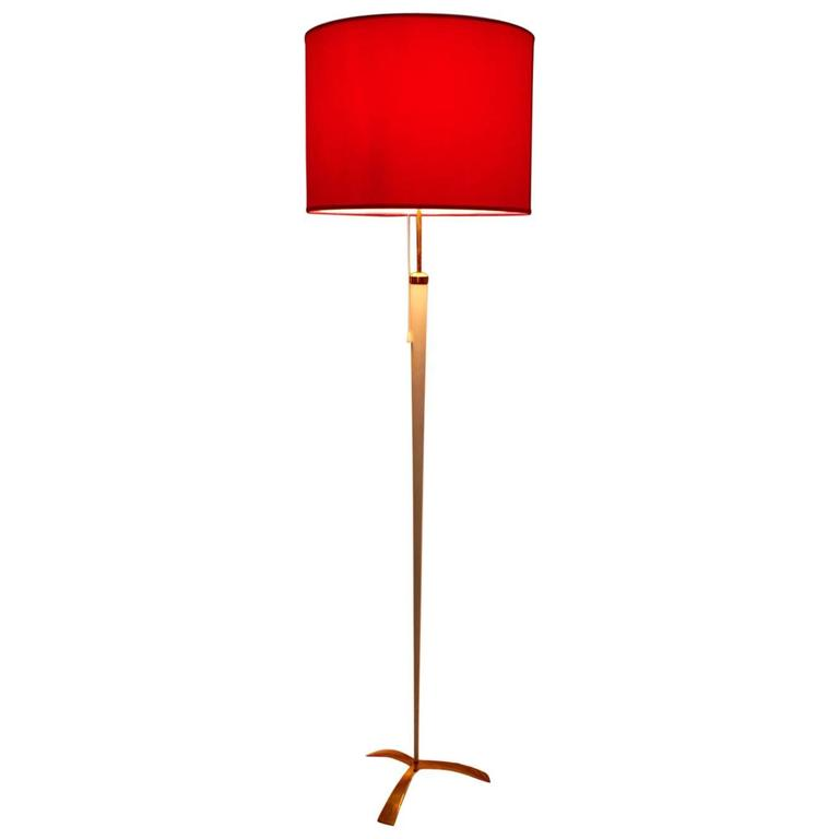 Red and White Mid-Century Modern Floor Lamp by J. T. Kalmar, Vienna, 1950s
