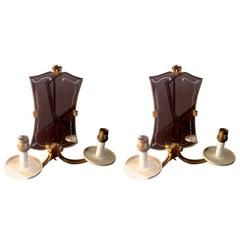 Jules Leleu Pair of 1940s Refined Mirrored Gold Bronze Sconces
