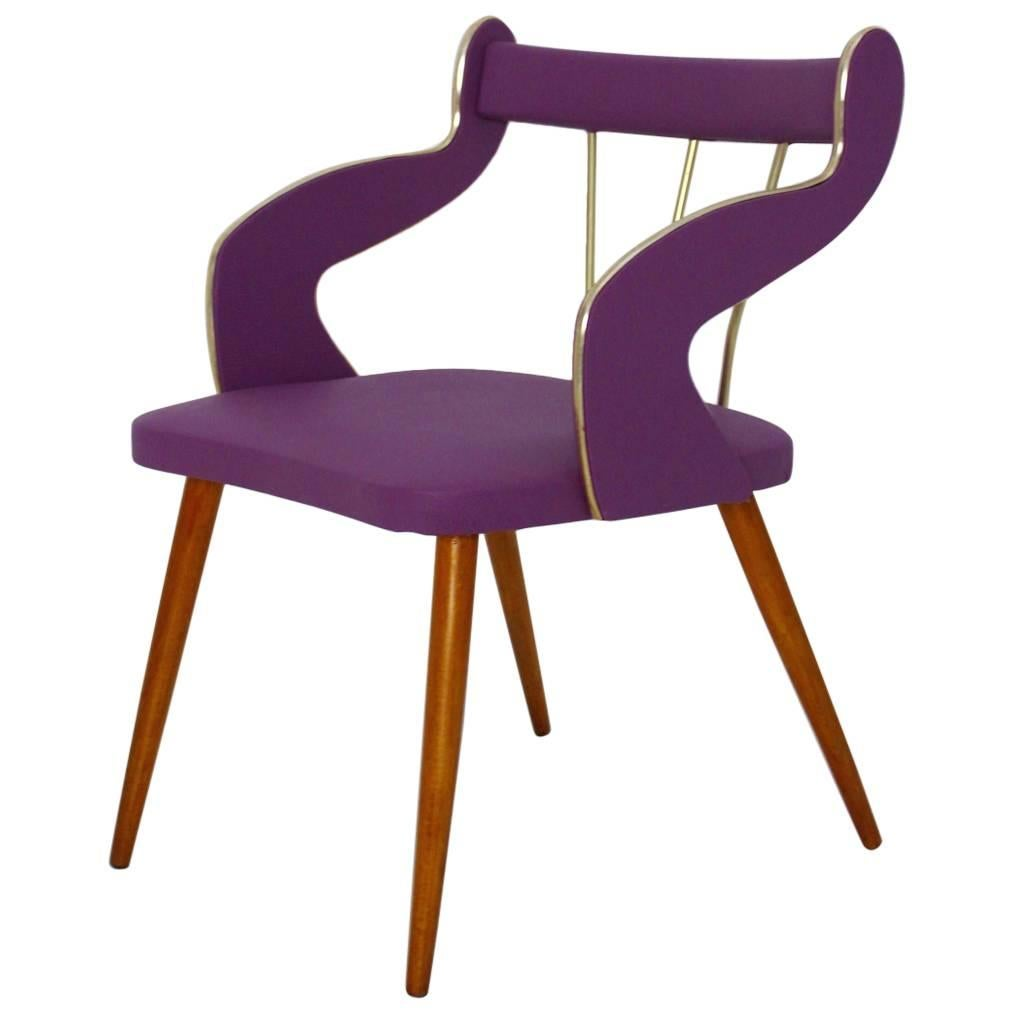 Mid-Century Modern Lilac Vintage Armchair or Side Chair Italy circa 1950