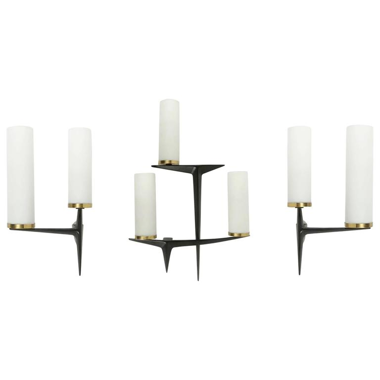 1960s Arlus Set of Three Asymmetrical Sconces