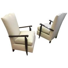 Style of Maurice Jallot High Back Chicest Pair of Lounge Chair, Newly Covered