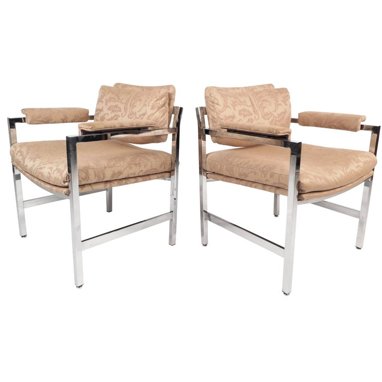 Mid-Century Modern Milo Baughman Style Armchairs For Sale
