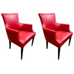 Style of Dupré Lafon Pair of Armchairs in Red Hermès Color Leather