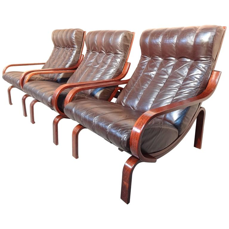 1960 Danish Brown Leather Reclining Arm Lounge Chairs At