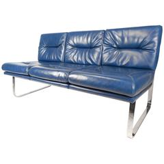 Mid-Century Modern Vinyl Sofa in the Style of Milo Baughman
