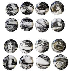 Complete Set of 16 Piero Fornasetti Adam and Eve Coasters