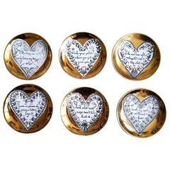 Piero Fornasetti Porcelain Coaster Set with Love, Hearts and Saying
