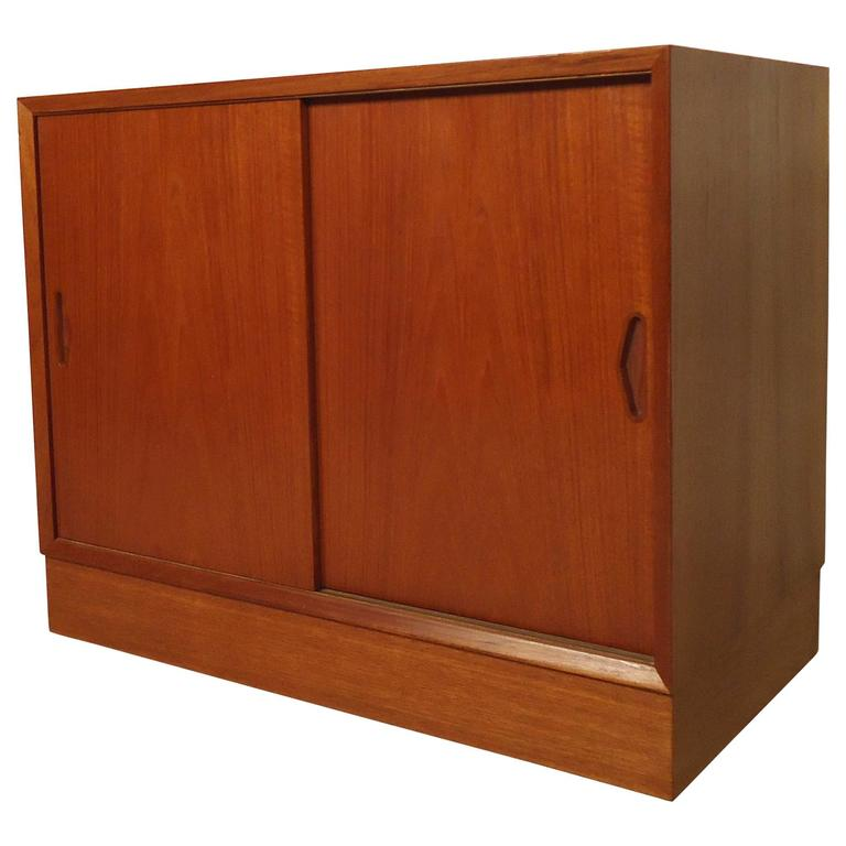 Mid century modern teak cabinet for sale at 1stdibs for Modern teak kitchen cabinets