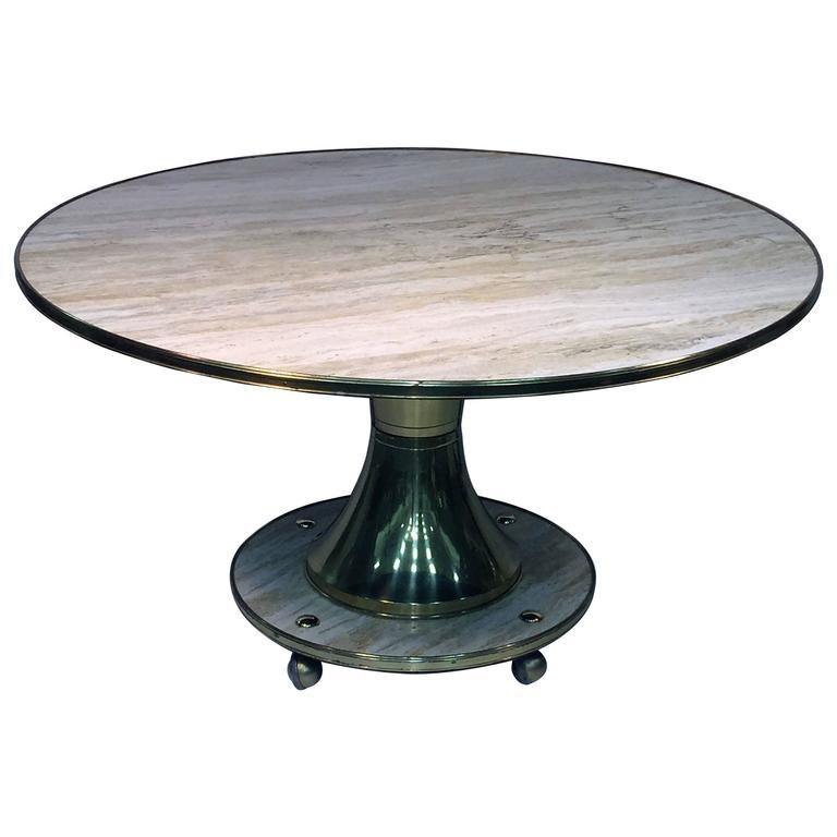 Spectacular Gio Ponti Style Italian Travertine Marble And