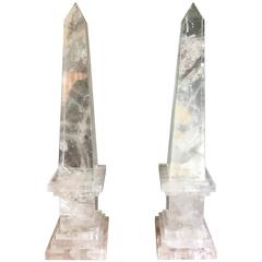 Important Pair of Rock Crystal Obelisks on Square Cut Step Bases