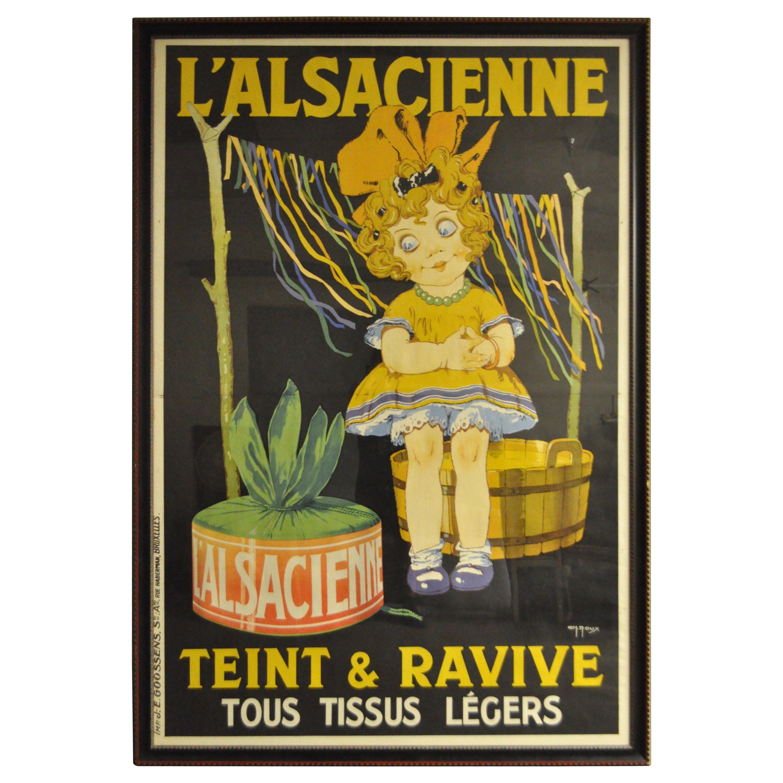 Huge Original 1920s French Art Deco Poster L'Alsacienne Teint & Ravive Ch Roux