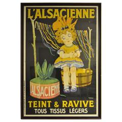 Huge Original 1920s French Art Deco Poster L'Alsacienne Teint & Ravive Ch Roux
