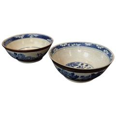Pair of 19th Century Blue and White Chinese Bowls