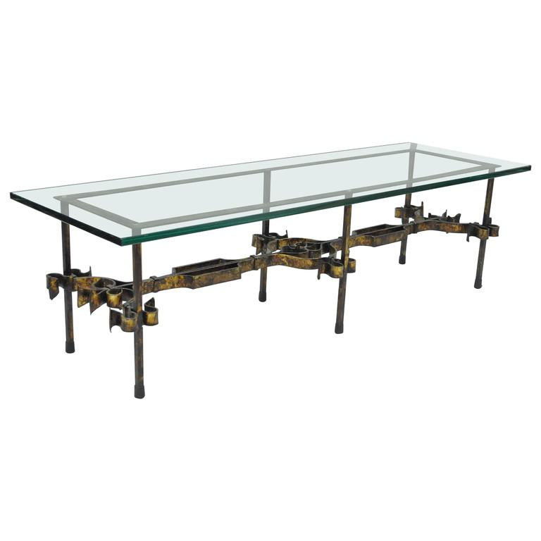 Gilt Scrolling Iron Rectangular Glass Coffee Table For Sale At 1stdibs