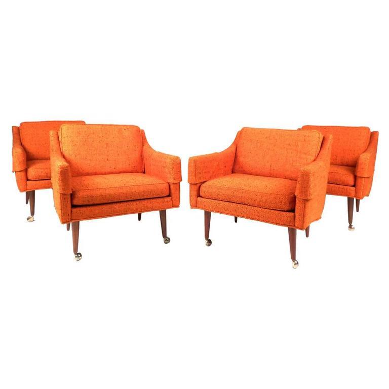 Set of mid century modern milo baughman armchairs for sale for Mid century modern armchairs