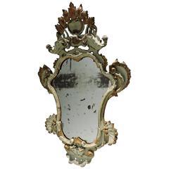 Venetian Rococo Painted & Gilded Wood Mirror