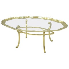 Regency Brass & Glass Serving Scalloped Tray Turtle Top Coffee Table Attr. Baker