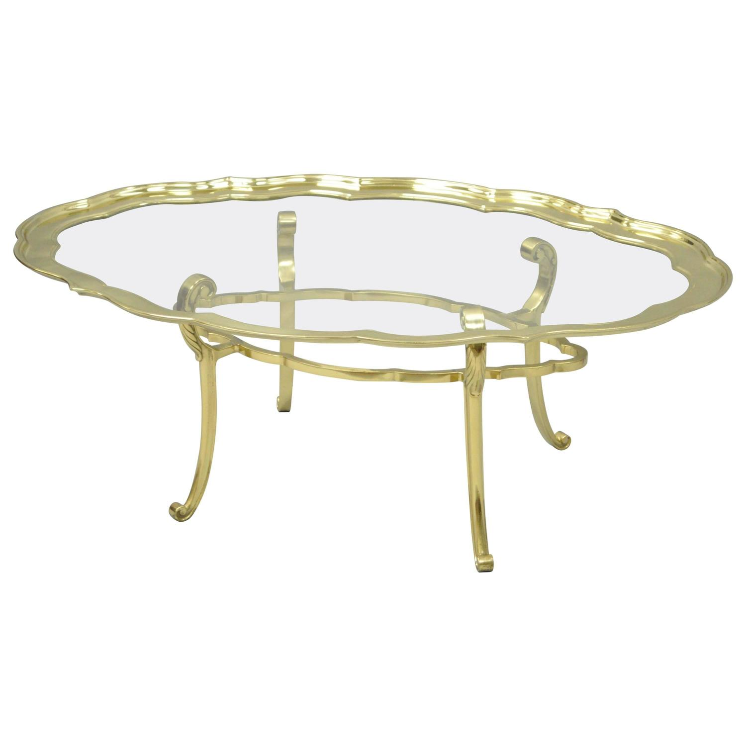hollywood regency brass baker spider base coffee table with glass