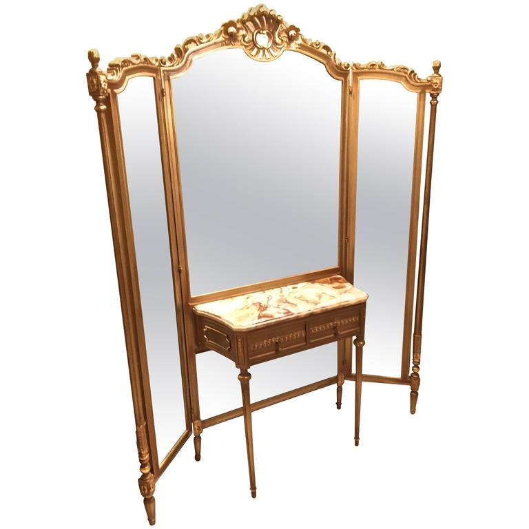 Tri Fold Vanity Mirror With Onyx Top Dressing Table At 1stdibs