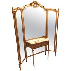 Tri-Fold Vanity Mirror with Onyx Top Dressing Table