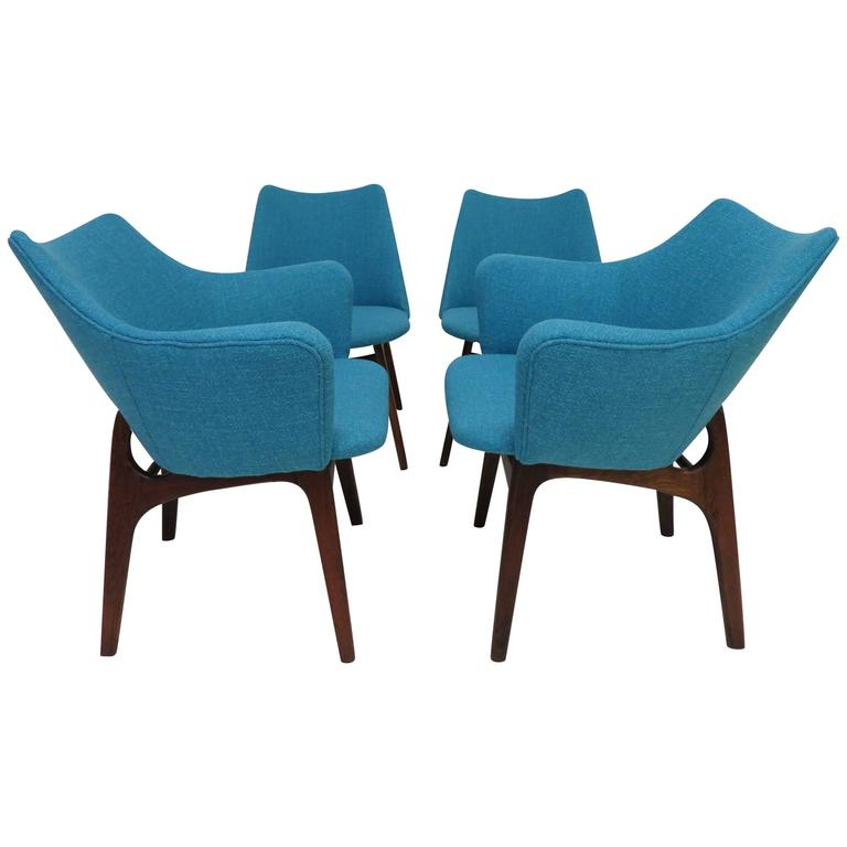 Set of Four Adrian Pearsall Sculptural Walnut Dining Chairs For Sale