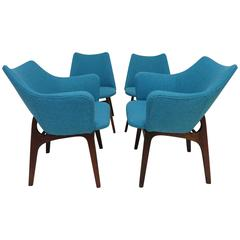 Set of Four Adrian Pearsall Sculptural Walnut Dining Chairs