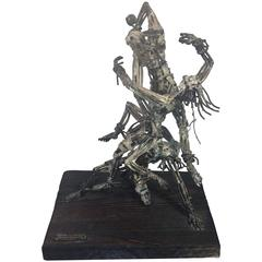 Fantastic Mexican Brutalist Three Figure Abstract Sculpture