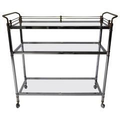 Italian Brass and Chrome Bar or Serving Cart
