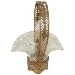 Wonderful Fine French Basket Weave Floral Bronze Basket Etched Crystal Insert