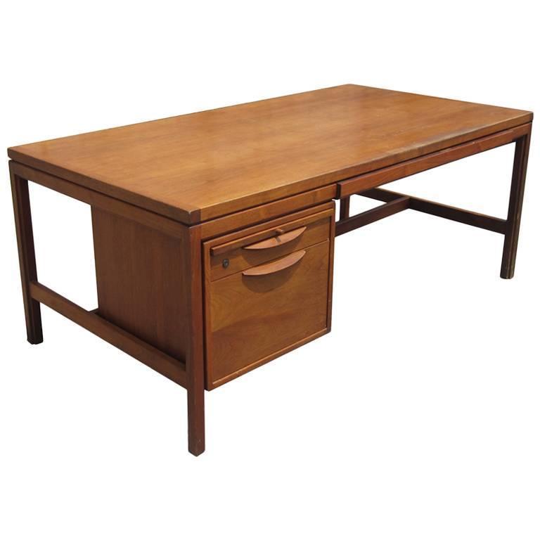 Vintage Mid Century Modern Walnut Jens Risom Desk For