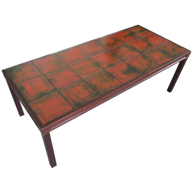 Unusual Tile Coffee Table by Bramin Mobler Denmark 1