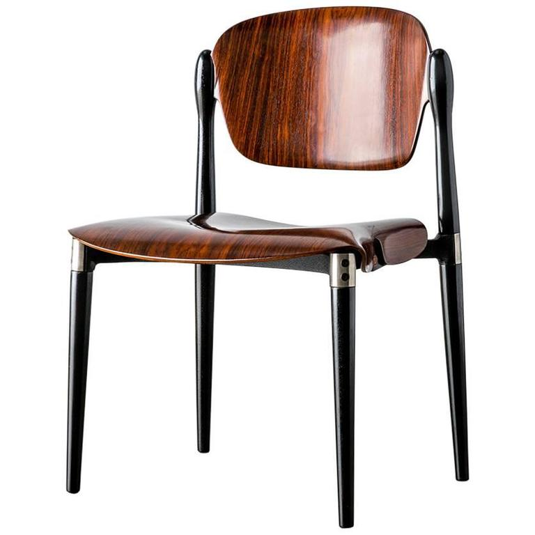 "Rosewood and Black Lacquered ""S83"" Side Chair by Eugenio Gerli for Tecno, 1962"