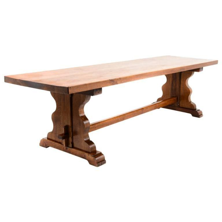 rare extra long solid oak trestle table at 1stdibs. Black Bedroom Furniture Sets. Home Design Ideas