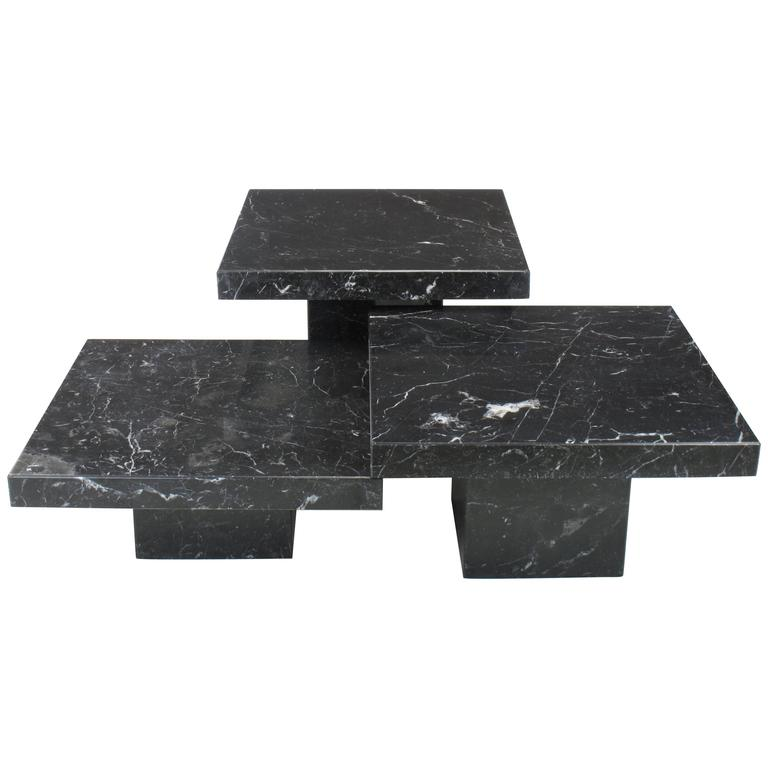 stone international furniture. threepiece nero marquina marble low tables by stone international spa italy 1 furniture