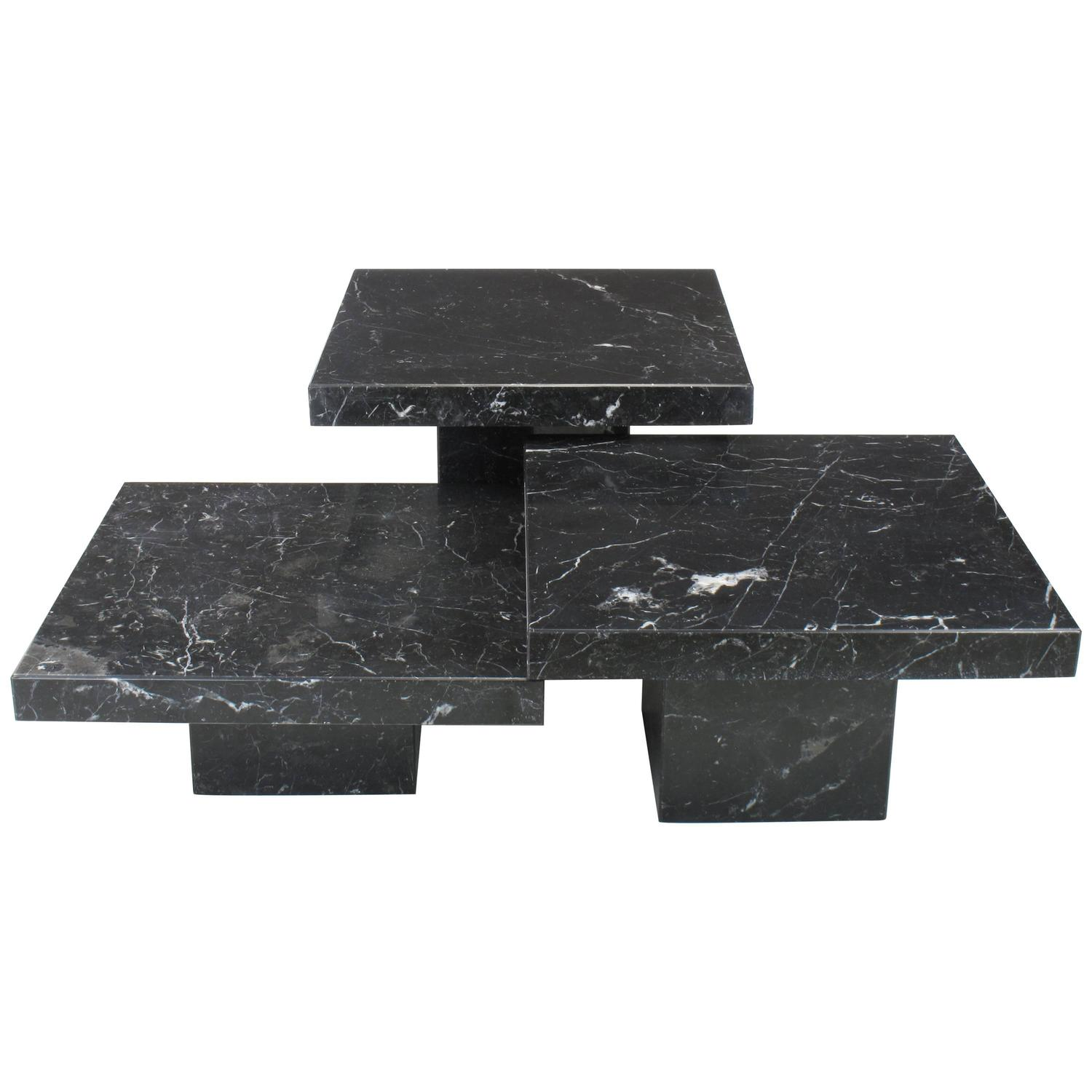 Three Piece Nero Marquina Marble Low Tables By Stone International S.P.A,  Italy At 1stdibs