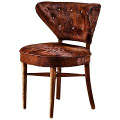 Birch Side Chair with Brown Cowhide Upholstery, Sweden, 1940s