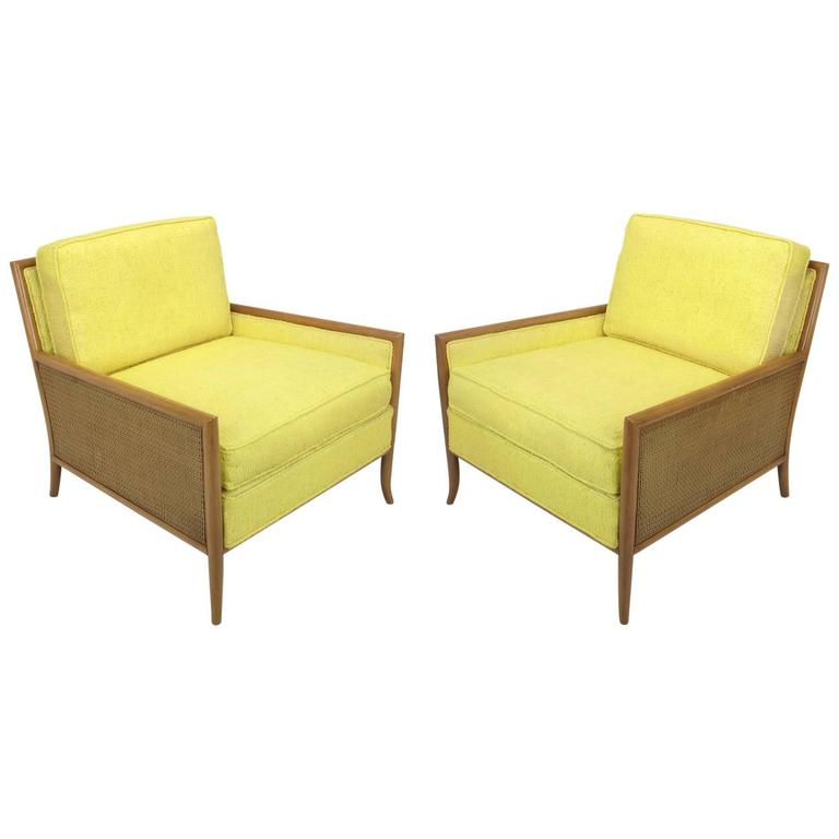 Pair of Walnut & Yellow Haitian Cotton Lounge Chairs after TH. Robsjohn-Gibbings