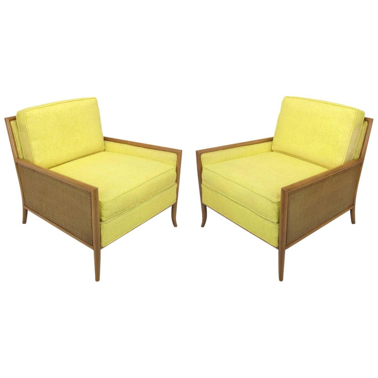 Pair of Walnut & Yellow Haitian Cotton Lounge Chairs after TH. Robsjohn-Gibbings For Sale
