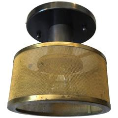 French Mounted Ceiling or Wall Lights with Brass Mesh Shade