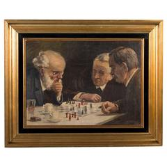 Signed Danish Oil on Canvas Painting of Chess Players, circa 1950