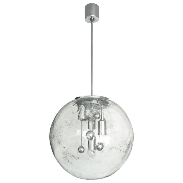 Large Doria German Blown Glass Globe Clear Milky Way Four-Light Hanging Fixture For Sale