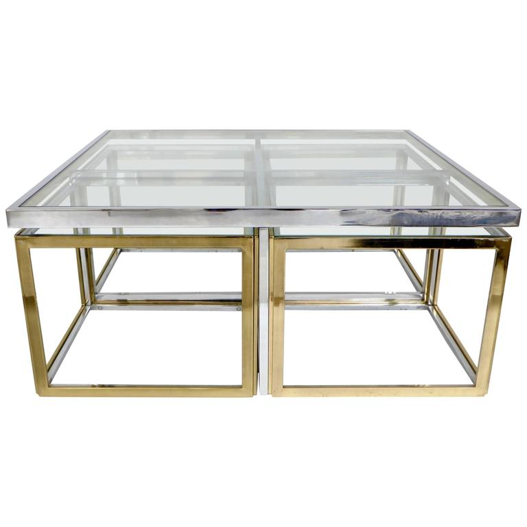 French Maison Jansen Chrome And Brass Multi Part Coffee And Pull Out Tables For Sale At 1stdibs
