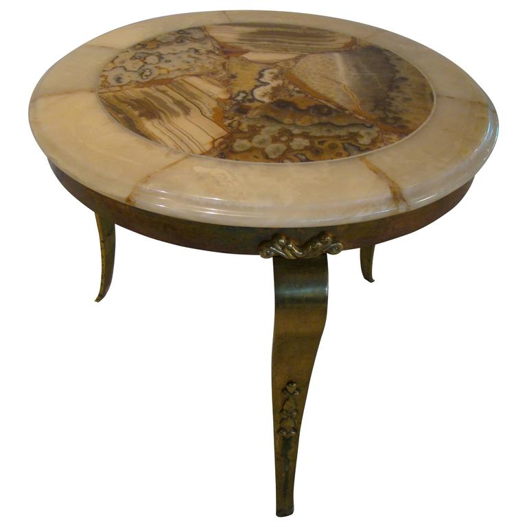 Onyx And Brass Coffee Side Table By Muller Of Mexico After Arturo Pani For Sale At 1stdibs