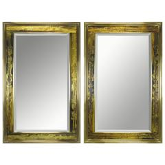Pair of Mastercraft Bernhard Rohne Acid-Etched Frame Beveled Mirrors
