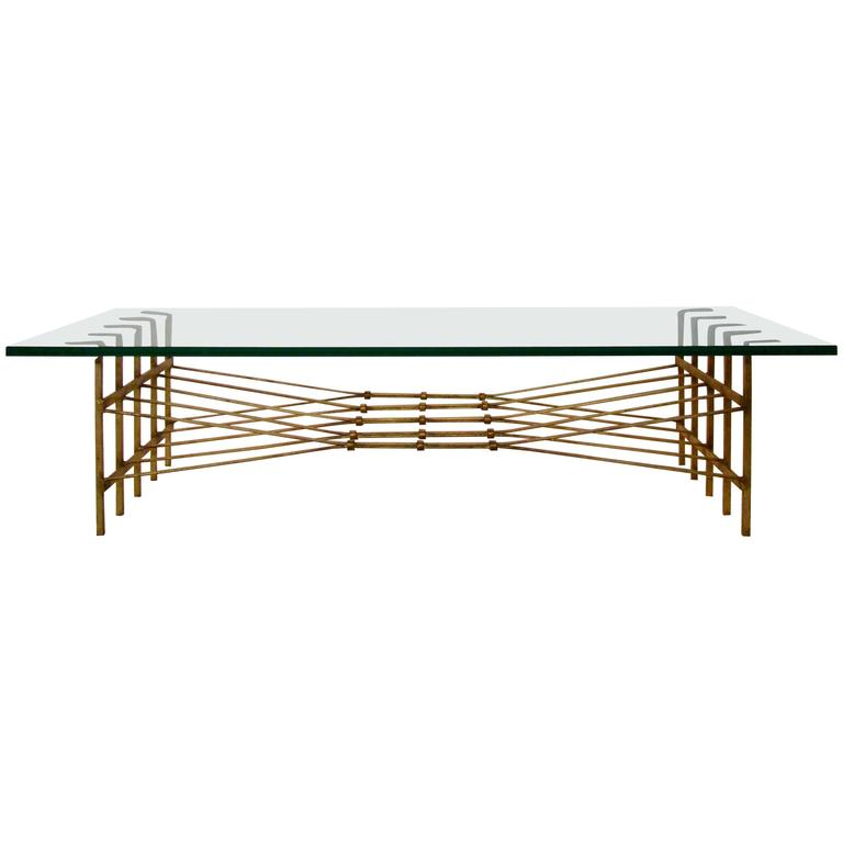 Modernist Neoclassic Gold Brass Gilted Iron And Glass Coffee Table For Sale At 1stdibs
