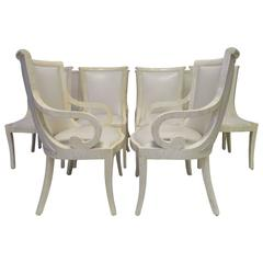 Outstanding Set of Ten Enrique Garcel Bone Leather Dining Chairs Karl Springer