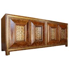 Outstanding Amboyna Burl Wood and Brass Credenza Made by Mastercraft  C. 1960s