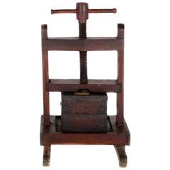 French Solid Walnut Wine Press