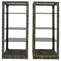 Unusual and Rare Pair of Adrian Pearsall Brutalist Etageres