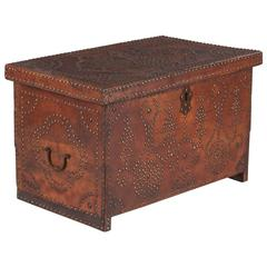 French Louis XIII Leather Trunk with Antique Nailhead Trim, Early 1800s